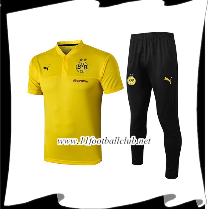 Le Nouveau Ensemble Polo Dortmund BVB + Pantalon Jaune 2019/2020 Officiel