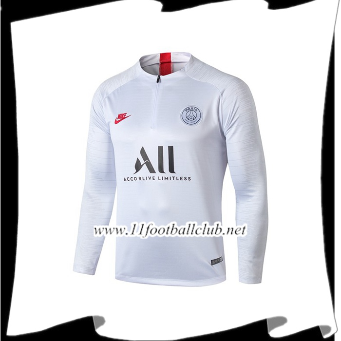 Le Nouveaux Sweatshirt Training Paris PSG ALL Blanc 2019/2020 Junior