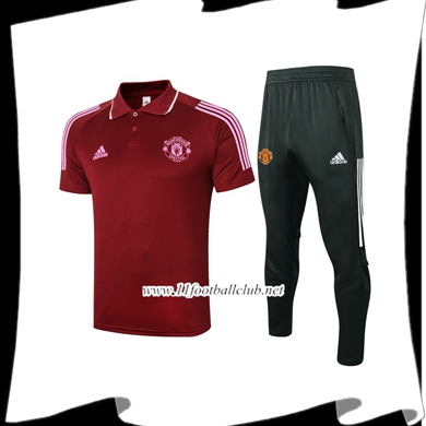 Le Nouveau Ensemble Polo Manchester United + Pantalon Rouge 2020/2021