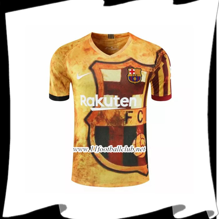 Nouveau Training T-Shirts FC Barcelone Jaune 2020/2021