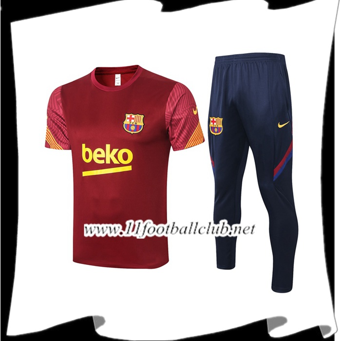 Le Nouveaux Ensemble Training T-Shirts FC Barcelone + Pantalon Rouge 2020/2021