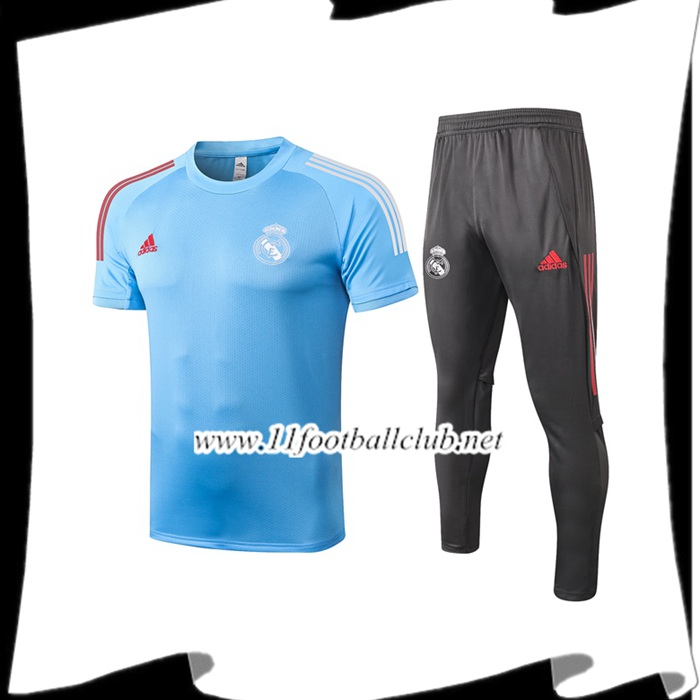 Ensemble Training T-Shirts Real Madrid + Pantalon Bleu 2020/2021