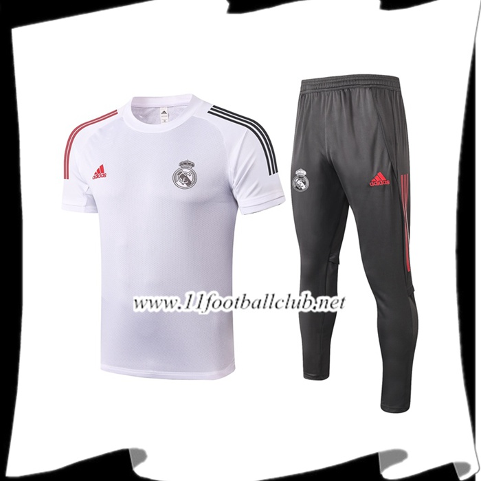 Ensemble Training T-Shirts Real Madrid + Pantalon Blanc 2020/2021