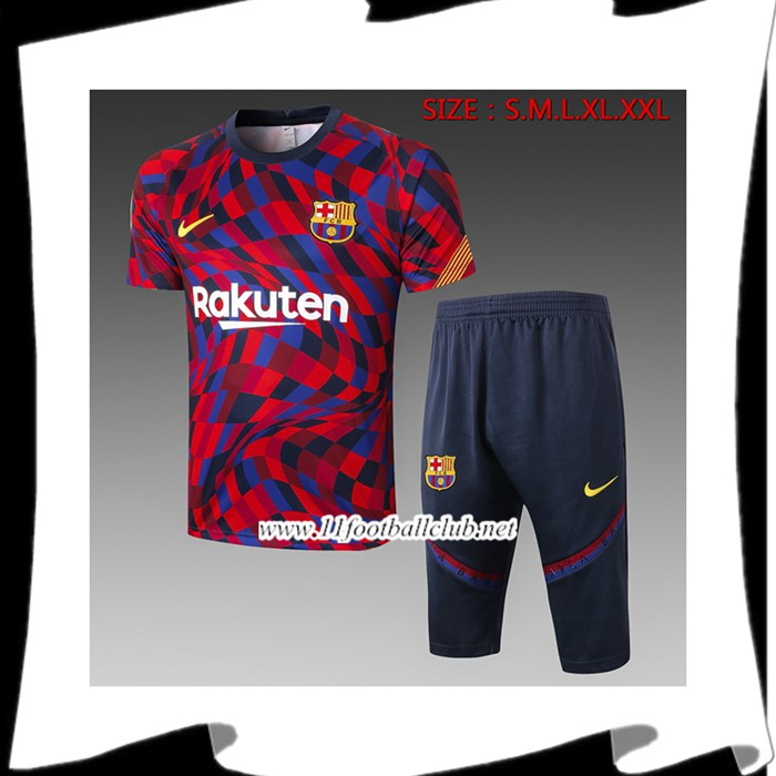 Nouveaux Ensemble Training T-Shirts FC Barcelone + Pantalon 3/4 Rouge 2020/2021