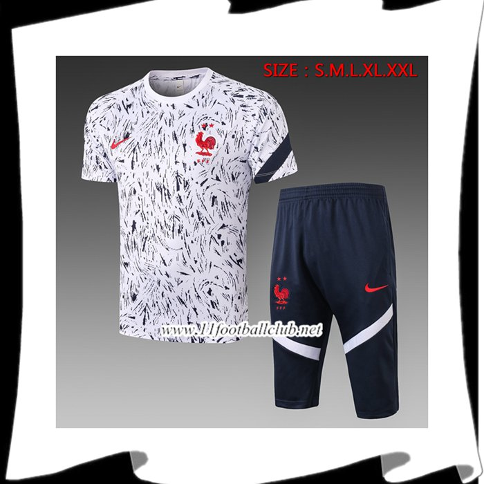 Nouveaux Ensemble Training T-Shirts France + Pantalon 3/4 Blanc 2020/2021