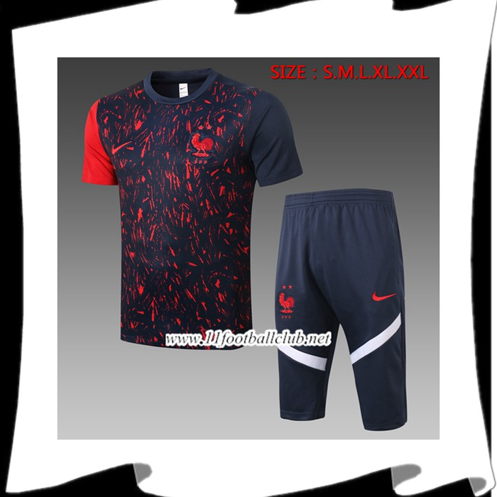 Nouveau Ensemble Training T-Shirts France + Pantalon 3/4 Noir 2020/2021
