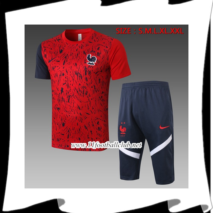 Nouveaux Ensemble Training T-Shirts France + Pantalon 3/4 Rouge 2020/2021