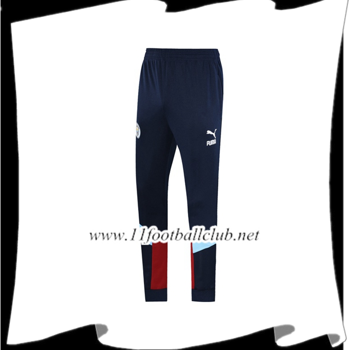 Le Nouveau Training Pantalon Foot Manchester City Bleu Saphir Rouge 2019/2020