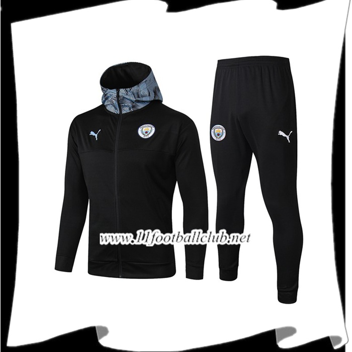 Le Nouveau Veste A Capuche Survetement Foot Manchester City Noir 2019/2020 Officiel