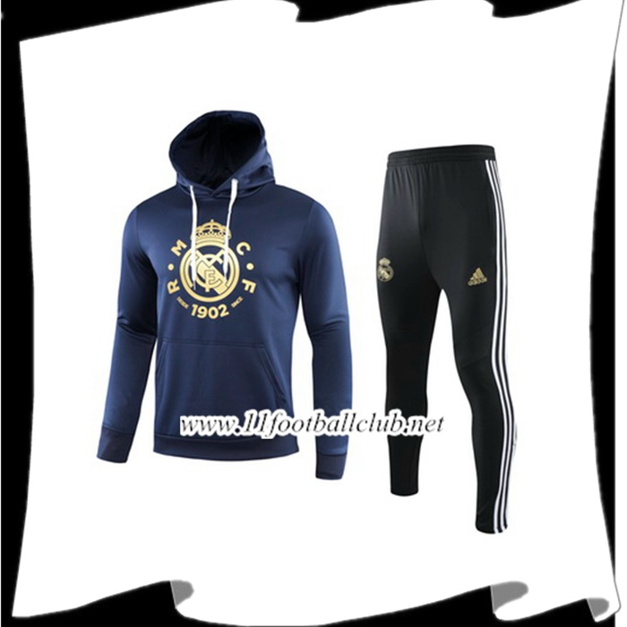 Le Nouveau Veste A Capuche Survetement Foot Real Madrid Noir 2019/2020 Vintage
