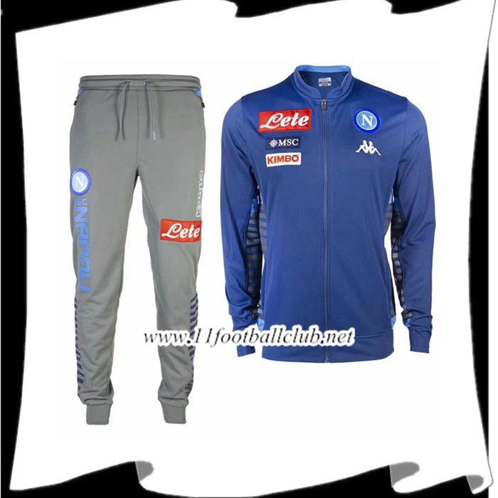 Le Nouveaux Ensemble Veste Survetement SSC Naples Bleu 2019/2020 Authentic