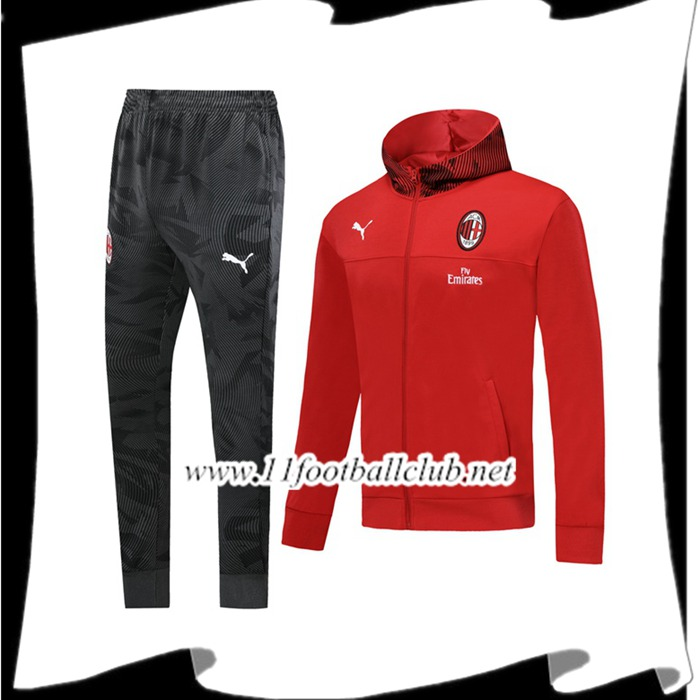 Le Nouveau Veste A Capuche Survetement Foot Milan AC Rouge 2019/2020 Officiel