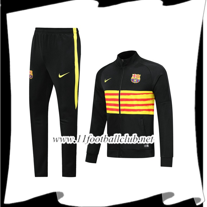 Le Nouveau Ensemble Veste Survetement de Foot FC Barcelone Noir Jaune 2019/2020 Officiel