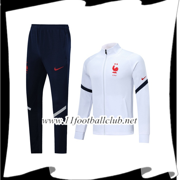 Le Nouveaux Ensemble Veste Survetement France Blanc 2019/2020 Junior