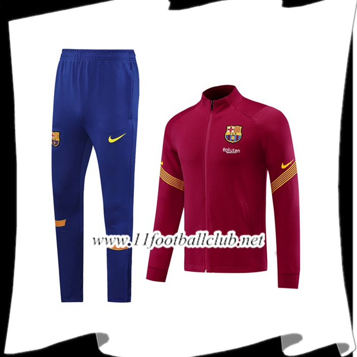 Le Nouveau Ensemble Veste Survetement de Foot FC Barcelone Rouge 2020/2021 Vintage
