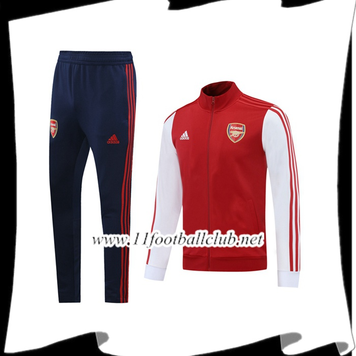 Le Nouveaux Ensemble Veste Survetement de Foot Arsenal Rouge Blanc 2020/2021 Junior