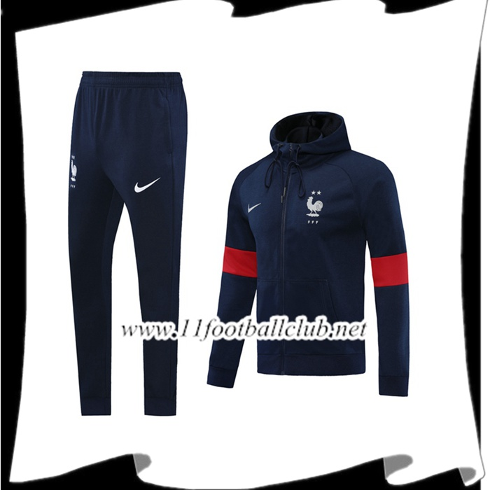 Le Nouveau Veste A Capuche Survetement Foot France Bleu Royal 2020/2021