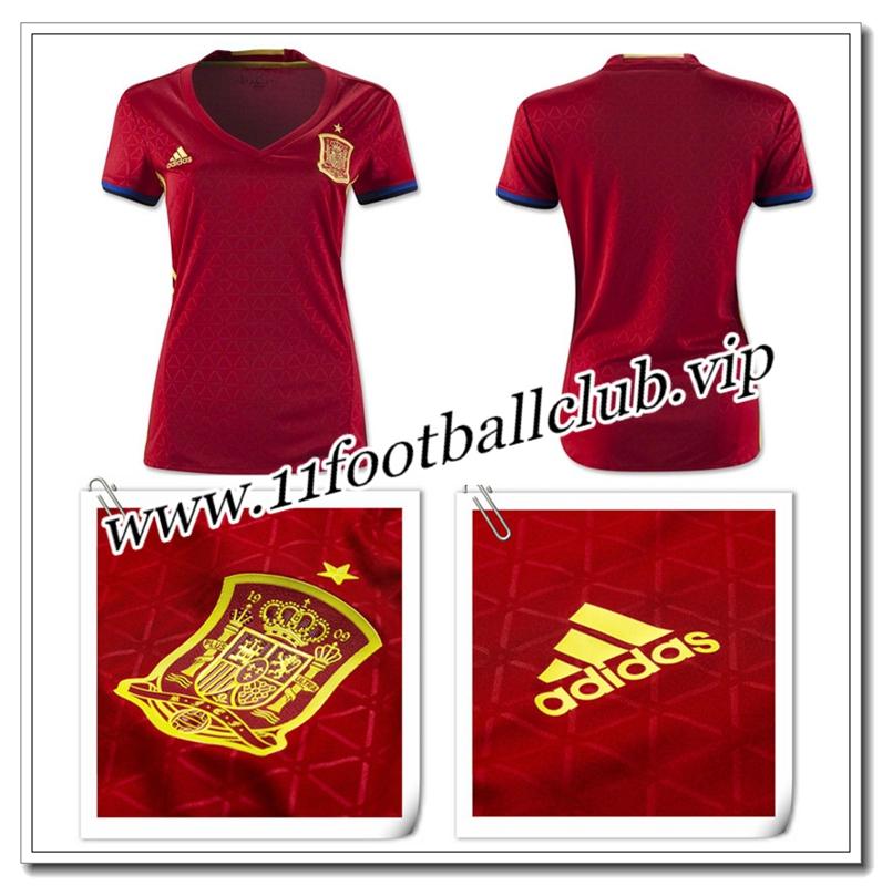 76c14c0eef42f Créer Maillot Espagne Pas Cher 16 17 Femme Domicile - 11footballclub ...