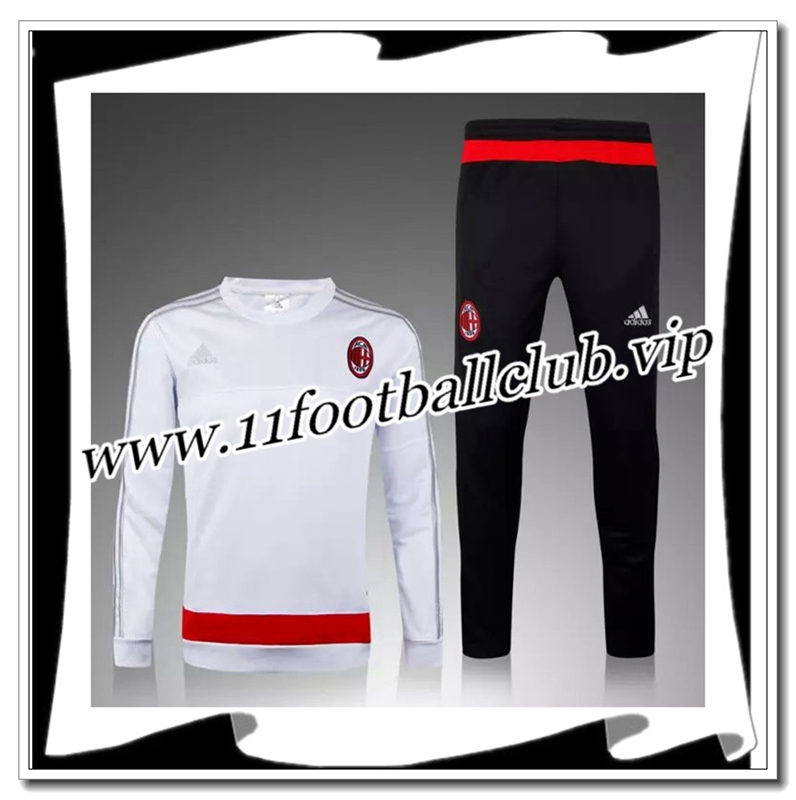 Le Nouveau Survetement de foot Milan AC Blanc 2015 2016 Officiel