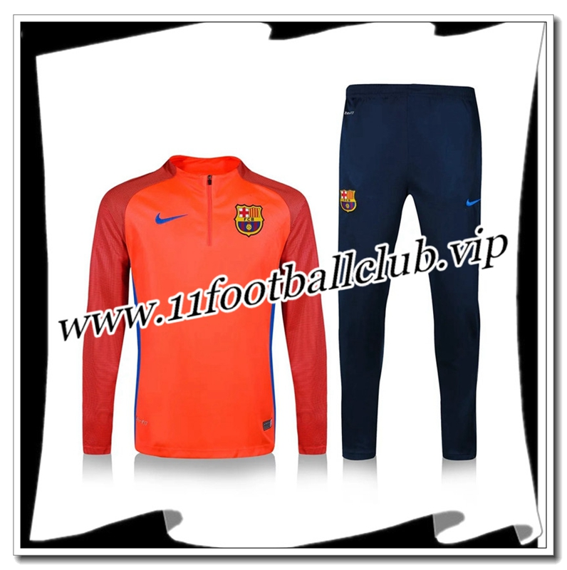 Le Nouveau Survetement de foot FC Barcelone Orange Printing 2016 2017 Vintage