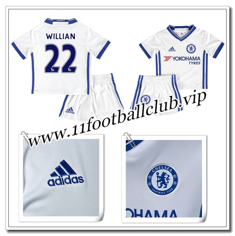 Le Nouveaux Maillot de FC Chelsea WILLIAN 22 Enfant Third Blanc 2016/17 Junior