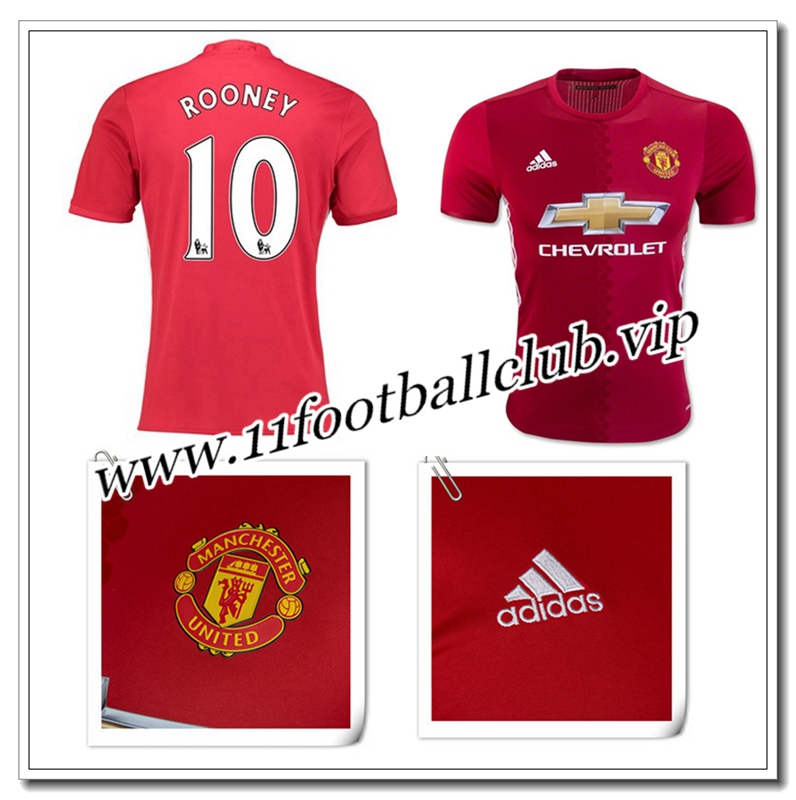 Le Nouveau Maillot de Manchester United ROONEY 10 Domicile Rouge 2016/17 Officiel