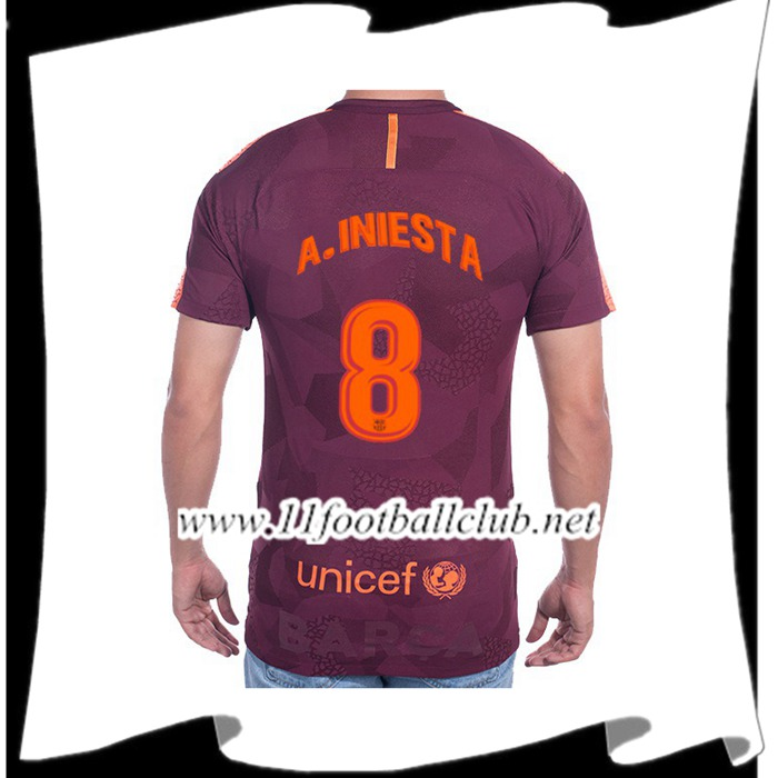 Le Nouveaux Maillot de FC Barcelone A.INIESTA 8 Third 2017/2018 Authentic