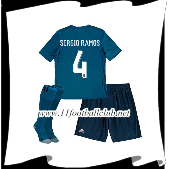 Le Nouveaux Maillot Real Madrid SERGIO RAMOS 4 Enfant Third 2017/2018 Authentic
