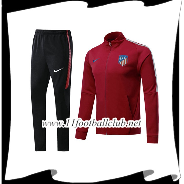 Le Nouveaux Survetement de Foot - Veste Atletico Madrid Bordeaux Ensemble 2017/2018 Authentic
