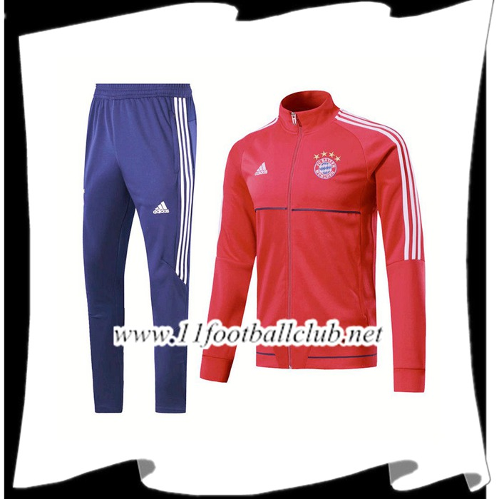 Le Nouveau Survetement de Foot - Veste Bayern Munich Rouge/Blanc Ensemble 2017/2018