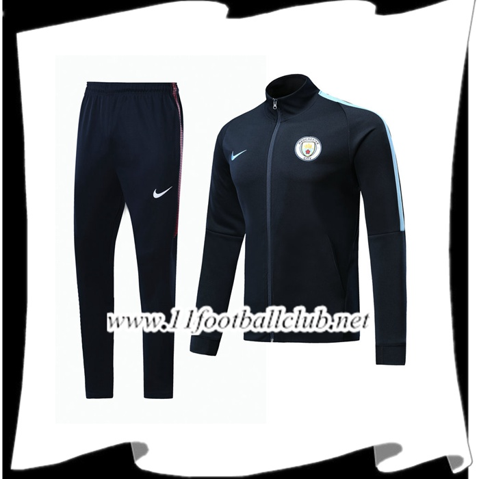 Site De Survetement - Veste Manchester City Bleu Marine Ensemble 2017/2018 Pas Cher