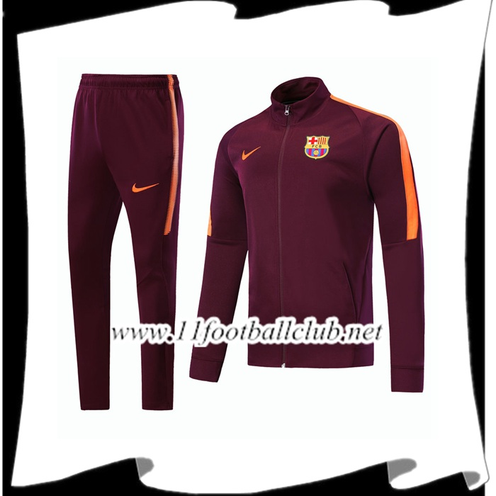 Magasin Survetement - Veste FC Barcelone Brown Ensemble 2017/2018 Pas Cher Grossiste