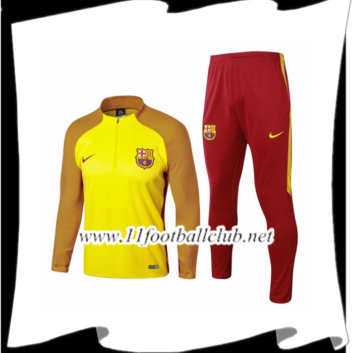 Promo Survetement FC Barcelone Strike Drill Jaune 2017/2018 Ensemble Pas Cher