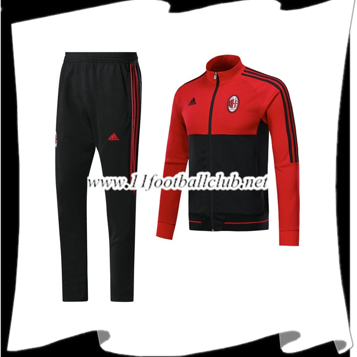 Le Nouveau Survetement Milan AC Rouge/Noir Ensemble - Veste 2017/2018 Officiel