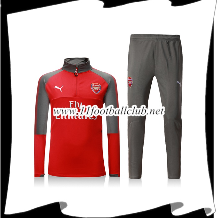 Le Nouveau Survetement Arsenal Rouge/Gris Zipper Ensemble 2017/2018 Officiel