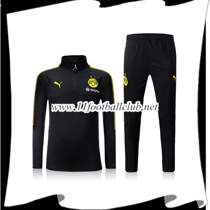 Le Nouveaux Survetement Dortmund BVB Noir Zipper Ensemble 2017/2018 Authentic