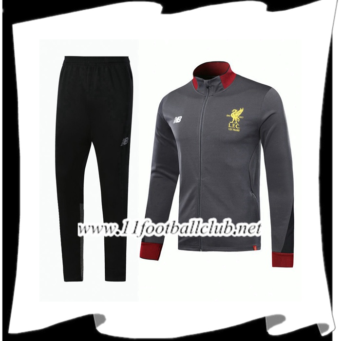 Le Nouveau Survetement de Foot - Veste FC Liverpool Gris 2017/2018 Ensemble Officiel