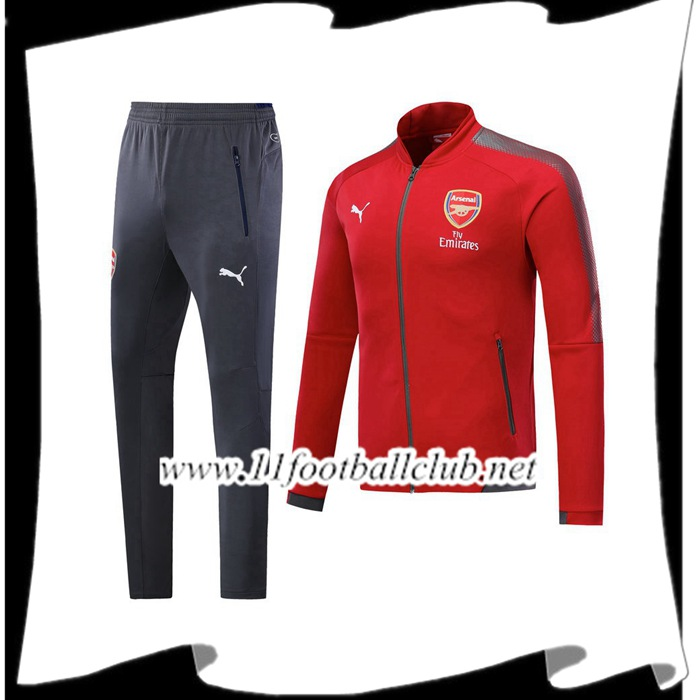 Le Nouveaux Survetement de Foot - Veste Arsenal Rouge 2017/2018 Ensemble Authentic
