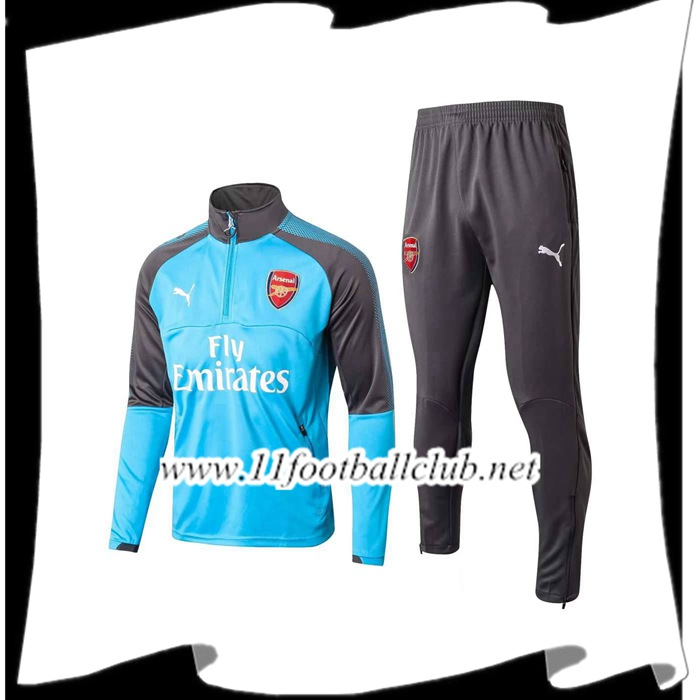Le Nouveaux Survetement de Foot Arsenal Bleu 2017/2018 Ensemble Authentic