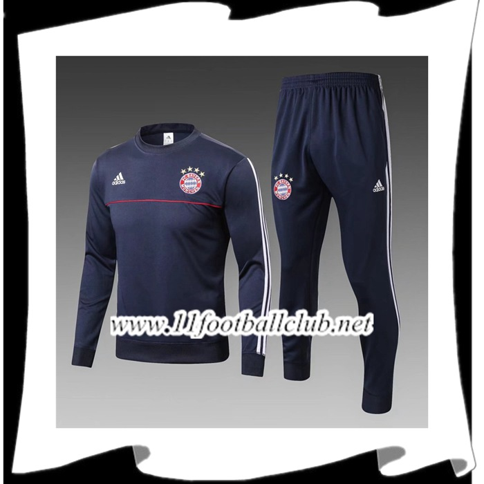 Le Nouveau Ensemble Survetement Foot Bayern Munich Enfant Bleu Marine 2017/2018 Officiel