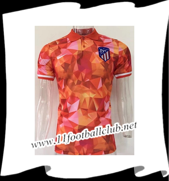 Le Nouveau Polo de Foot Atletico Madrid Diamant Orange 2017/2018 Vintage