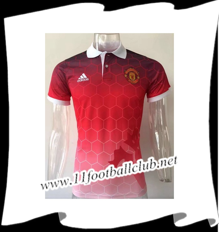 Le Nouveau Polo de Foot Manchester United Rouge 2017/2018 Officiel
