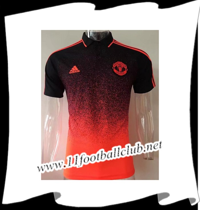 Le Nouveaux Polo de Foot Manchester United Rouge/Noir 2017/2018 Authentic