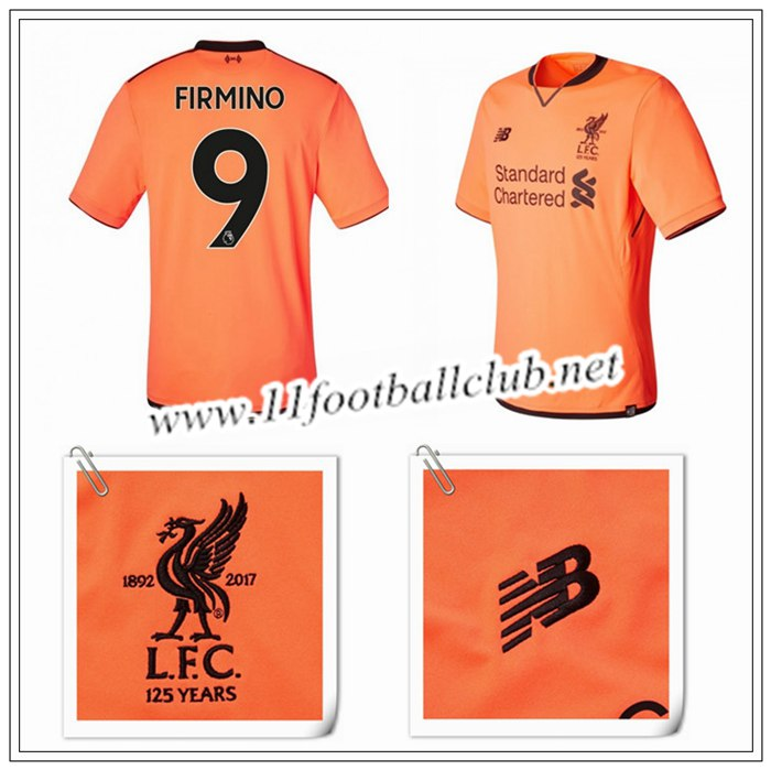 Le Nouveau Maillot du Liverpool Firmino 9 Third Orange 2017/2018 Personnalisable