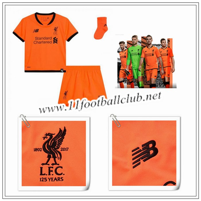 Le Nouveau Maillot du Liverpool Enfant Third Orange 2017/2018 Officiel
