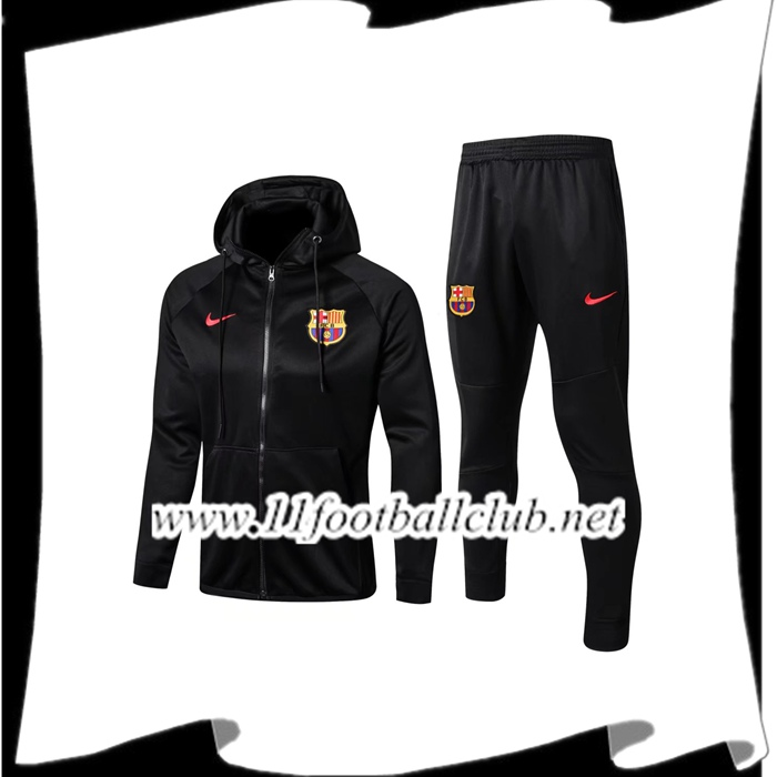 Le Nouveau Sweat a Capuche Survetement Foot FC Barcelone Noir 2017/2018 Ensemble Officiel