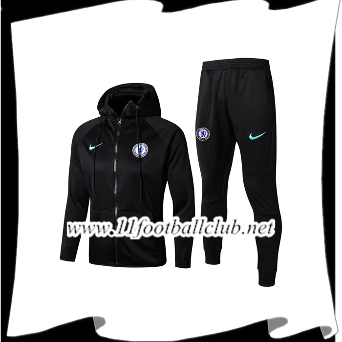 Le Nouveaux Sweat a Capuche Survetement Foot FC Chelsea Noir 2017/2018 Ensemble Authentic