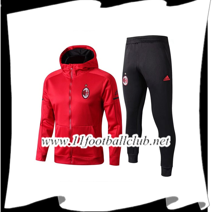 Le Nouveau Sweat a Capuche Survetement Foot Milan AC Rouge 2017/2018 Ensemble Personnalisable