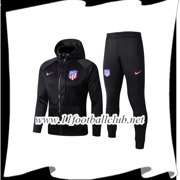 Le Nouveaux Sweat a Capuche Survetement Foot Atletico Madrid Noir 2017/2018 Ensemble Junior