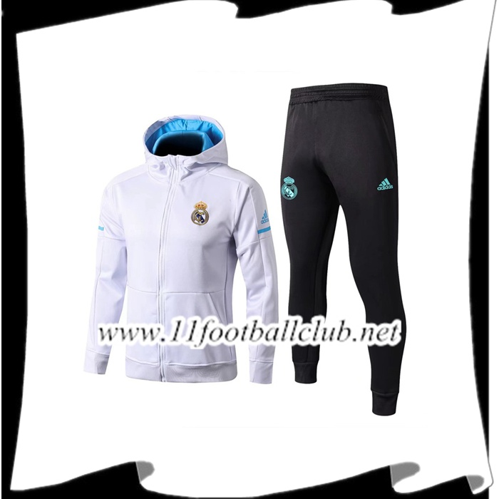 Le Nouveaux Sweat a Capuche Survetement Foot Real Madrid Blanc 2017/2018 Ensemble Flocage